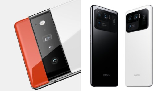 The Xiaomi Mi 11 Ultra (right) is the smartphone with the largest camera sensor, if we don't count Sharp's Aquos R6, which is only available in Japan. - Google Pixel 6 Pro and its 122MP camera system: The 4-year wait for 4 new cameras