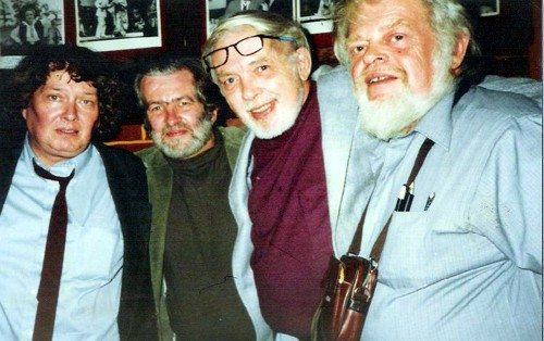 Below from left to right: Hugh Fox, Richard Morris, Curt Johnson & Harry Smith (1992, Chicago) -- all big in the early small-press scene of the 60s & 70s, and all dead now...Harry passed away on November 23rd of this year after a long period of poor health...