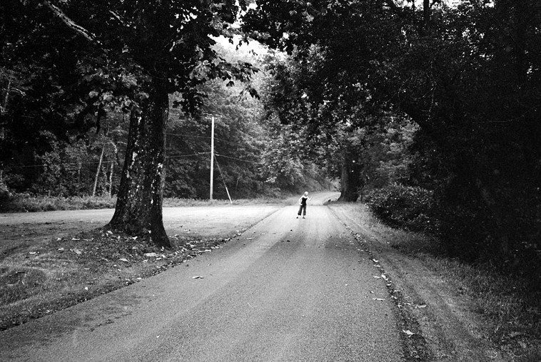 Kazzrie and her magical trees on the road alongside the Delaware River, Callicoon NY -- August 7, 2011 -- photo by Mark Weber