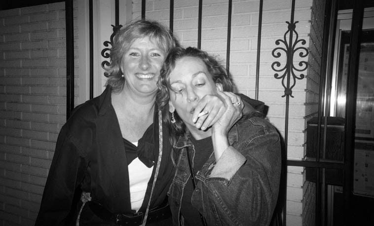 Mary Oliver with her Mills College classmate of yore, the Santa Fe author Melody Sumner Carnahan in front of the Outpost Performance Space, Albuquerque -- October 25, 2004 -- photo by Mark Weber