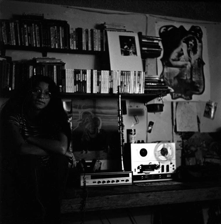 My bedroom during high school years ---- 1971 --- my Roberts reel-to-reel, my metal clarinet, my Realistic stereo receiver/amp, another Andy Munz painting, and my girlfriend Sharon Barreras ---- photo by Mark Weber