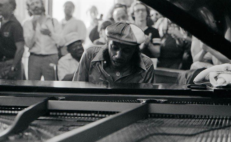Horace Silver playing for Blue Mitchell's Memorial at Local 47, Hollywood -- June 10, 1979 -- note Milcho Leviev standing behind Silver -- photo by Mark Weber