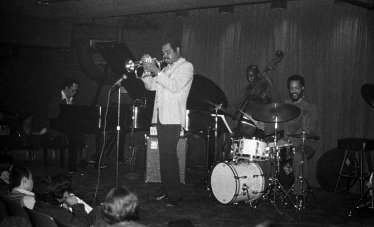 The Art Farmer-Cedar Walton Quartet --  @ Howard Rumsey's Concerts by the Sea -- May 5, 1977 -- Billy Higgins, drums; Sam Jones, bass ---- photo by Mark Weber ---- this was a double-bill with Bill Evans Trio (Eliot Zigmund, Eddie Gomez), one wonders how Howard managed the expenses, this was in the days when bands were booked for a week, Tuesday through Sunday ---- Note the giant pipes in the wall behind Cedar,  I believe those have something to do with keeping the Pacific Ocean from flooding the club,  which was dug right into where the sandy beach had been for thousands of years,  it was a basement club,  you entered from the Redondo Beach Pier down steps into the depths -- was a great jazz spot