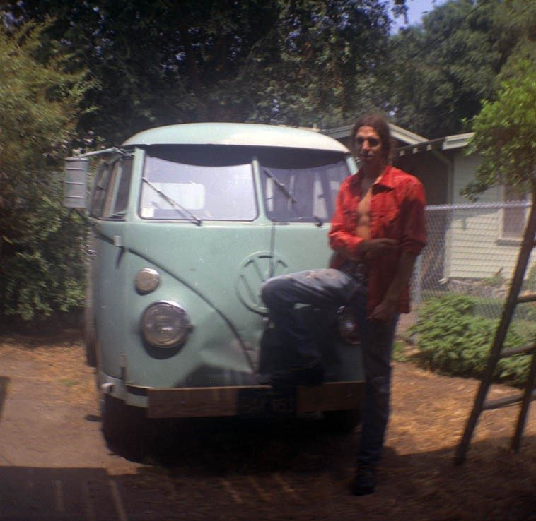 Mark Weber & his 1963 Volks van ---- at Studio 400 1/2 ---- Upland, California -- 1972