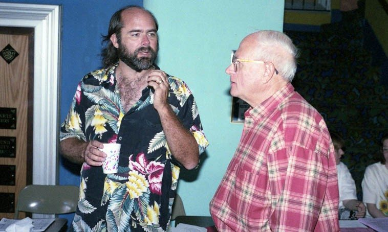 Fred Voss and Todd Moore -- Great Bend, Kansas, Poetry Rendezvous -- August 6, 1995 -- photo by Mark  Weber