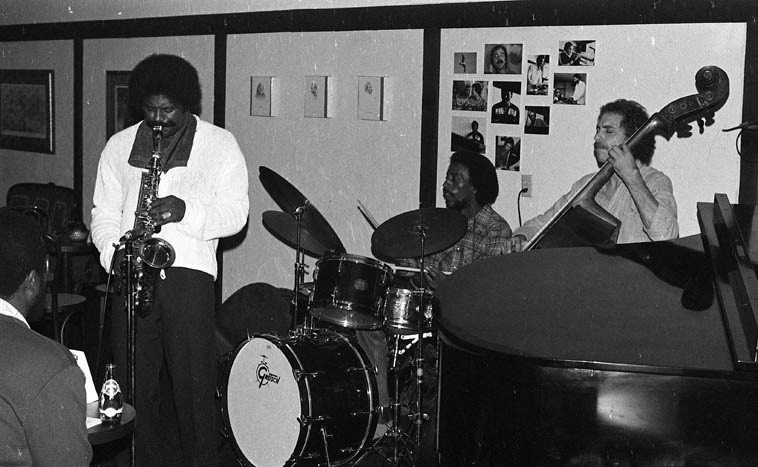Charles McPherson Quartet -- October 17, 1979 at Pasquales, Malibu, California -- Pat Senatore, bass;  Roy McCurdy, drums; Carl Schroeder, piano (out of the frame) -- photo by Mark Weber -- GOOD NEWS:  This quantum physicist will be Live in-person in-the-moment via telephone February 19 on the Thursday  jazz show