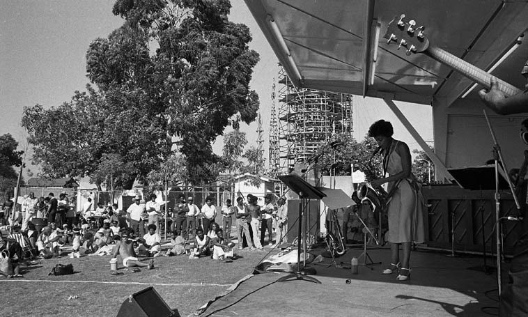 Fostina Dixon and her band Collage at Watts Towers Jazz Festival -- July 11, 1981-- photo by Mark Weber