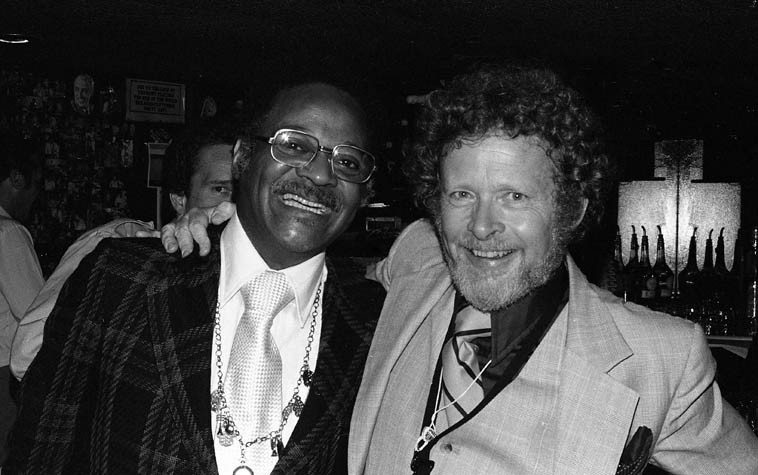 Clark Terry and Bob Wilber at Donte's, North Hollywood -- May 23, 1979 ---- Clark was in town (maybe he was on the Carson show that night?) and dropped in to see Wilber's group: John Heard, bass; Dave Frishberg, piano; Pug Horton, vocals; not sure who the drummer was . . . photo by Mark Weber
