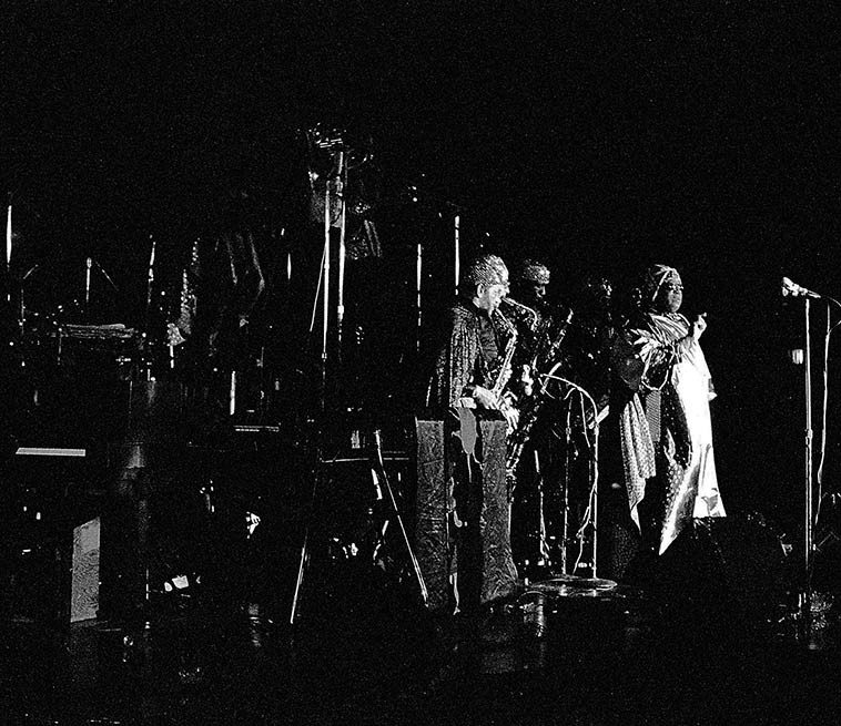 """Sun Ra """"other places of there"""" -- April 2, 1981 -- photo by Mark Weber"""