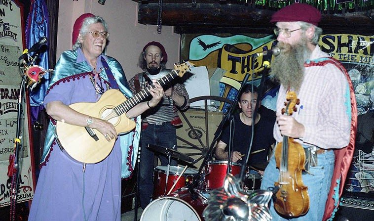 Bayou Seco at the Mindshaft Tavern, Madrid, New Mexico, for Mardi Gras -- February 20, 1998 ----  Jefferson Voorhees and his brother Steven visiting from Vermont on drums & rub board -- photo by Mark Weber