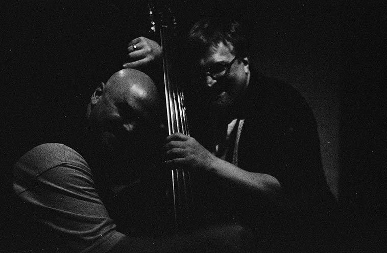 Two bassists: Ken Filiano & Ratzo Harris -- September 25, 2oo9 ---- photo by Mark Weber