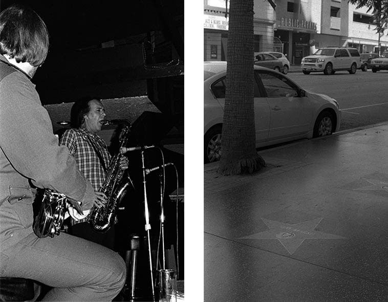 Warne Marsh (w/Gary Foster) -- February 6, 1977 at Donte's and Warne's aunt Mae Marsh's star on the Hollywood Walk of Fame -- August 13, 2o15 -- at the corner of Selma & Vine -- photos by Mark Weber