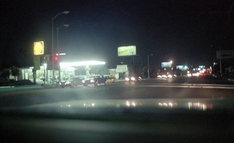 Los Angeles streets and night -- October 1980 ---- in Los Angeles much of your jazz life is spent in cars at night driving between gigs over the 35+ highways that crisscross that city -- photo by Mark Weber