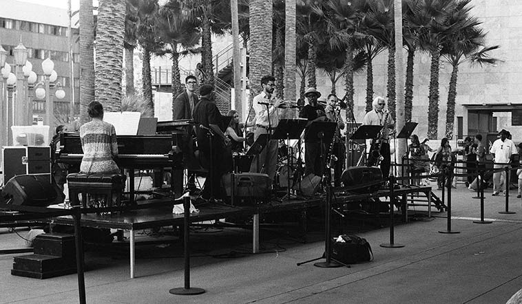 The only person out of frame is the tuba maestro William Roper in this shot of Bobby Bradford's Tete-a-Tete at LACMA -- August 14, 2o15: Tina Raymond, drums; BB, cornet; Cathlene Pineda, piano; Josh Aguiar, trumpet; Dwight Trible, vocals; Zephyr Avalon, bass; Brian Walsh, tenor sax & bass clarinet; Vinny Golia, baritone sax & bass clarinet; (you can see William's hat & bell just behind Dwight) -- photo by Mark Weber -- On the show we'll listen to taste of this from the concert recording
