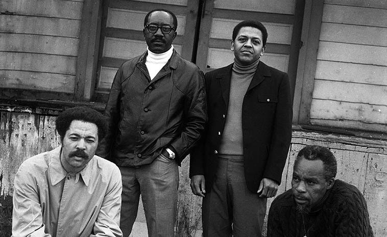 New Art Jazz Ensemble: Tom Williamson, John Carter, Bobby Bradford, Bruz Freeman -- circa 1968 photo shoot for album cover of their first album SEEKING (Revelation 9) -- photographer John William Hardy -- at the old Watts Local stop at 103rd & Grandee (the Red Car went out of service Sept 1961) -- from the collection of Bobby Bradford