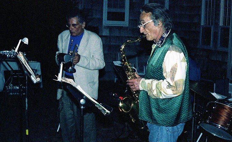 Larry Rivers Climax Band playing an outdoors party in the Hamptons on a summer night -- Larry on tenor saxophone and Howard Brofsky, cornet -- August 24, 1996 -- photo by Mark Weber