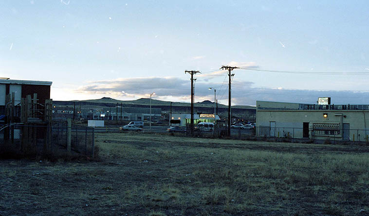 Albuquerque volcanos at dusk -- February 15, 1998 ---- photo by Mark Weber