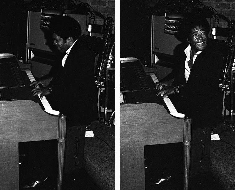 One of these days I'm going to do an entire show on the music of Freddie Redd, the guy with four D's in his name -- Here he is in Los Angeles with his band Western Union at Snooky's, 12021 W. Pico Blvd -- October 27, 1979 ---- photo by Mark Weber