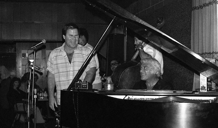 Jack Sheldon Quintet -- April 12, 1981 in Cucamonga, California on old Rt.66 at Gilberto's -- photo by Mark Weber ---- Jack (trumpet & humor); Lou Levy (piano); Plas Johnson (tenor saxophone); Jim DeJulio (bass); Dick Berk (drums)