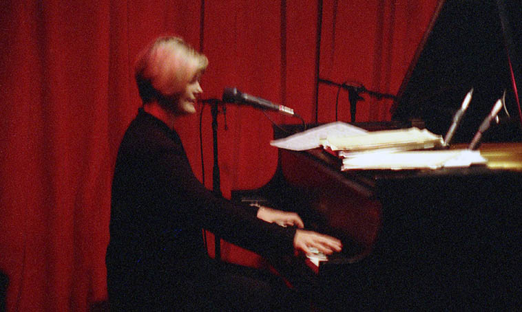 Dena DeRose ------- August 18, 1997 -- photo by Mark Weber -- some types of film drift over the years and get fuzzy, the center won't hold, as Yeats had it -- looks okay, I wouldn't want a steady diet of those, but I do like ----- Her first Outpost Performance Space appearance . . . .