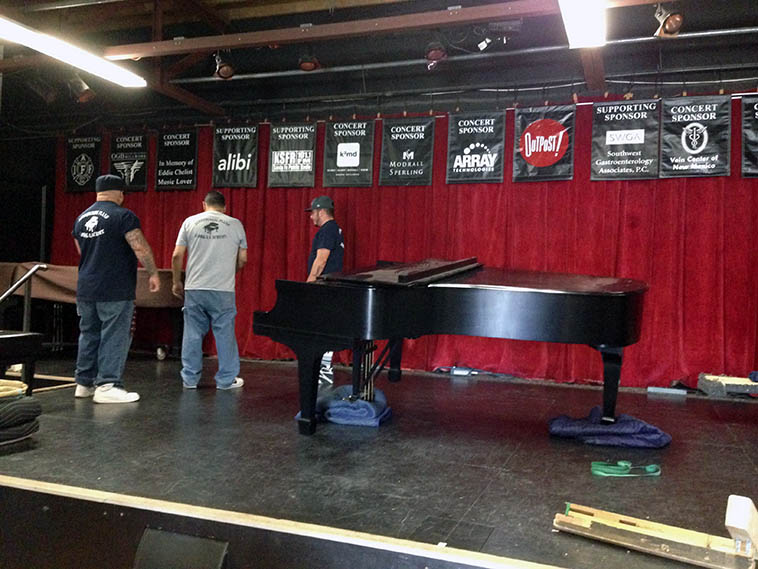 Moving day for the newly acquired Steinway B (1961) just reconditioned -- Now, the Outpost has two Steinways, how cool is that. The other has been around for awhile, it's a Steinway A (1927 German). (The B is seven foot and the A is six foot four.) Virg and Kazzrie will perform duets on the second evening with these exceptional instruments. Cell phone photos by Tom Guralnick -- April 25, 2o16. Trombonist/anthropologist/MacArthur Fellow Steve Feld's parents sent the B from Philadelphia where it has resided since 1961 when they bought it new.
