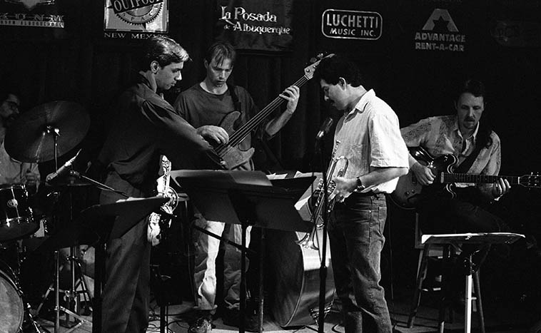 Look how young everyone looks -- whew -- Kanoa Kaluhiwa Quintet -- December 11, 1995 -- photo by Mark Weber -- That's KUNM Monday jazz host Paul Gonzales on trumpet, as always