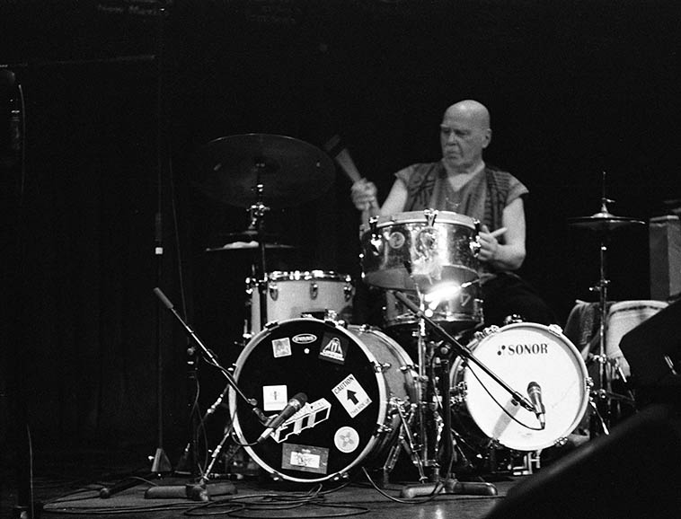 Bob Moses (on a borrowed kit from Dave Wayne) Outpost Performance Space -- November 14, 2o15 -- photo by Mark Weber
