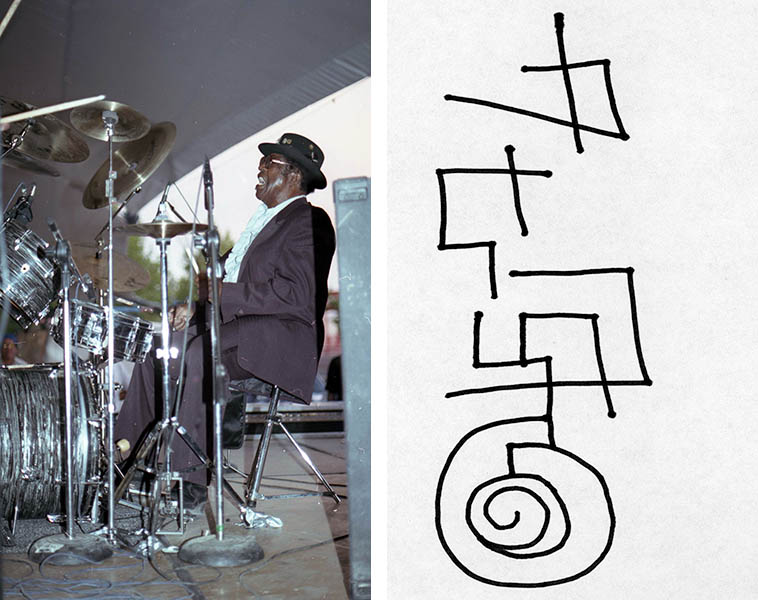 Bo Diddley takes over the drum chair for one song -- He lived in Albuquerque back then -- Everything he touched came out Bo Diddley ---- October 18, 1992 -- photo by Mark Weber