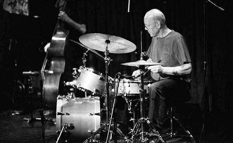 Master of the brushes: Bill Chattin w/ Kazzrie Jaxen Quartet -- May 5, 2o16 -- Outpost Performance Space -- Bill lives north of NYC in New Rochelle, so, he used the Outpost drumkit and borrowed Cal's cymbals and and DW hihat set-up-- photo by Mark Weber