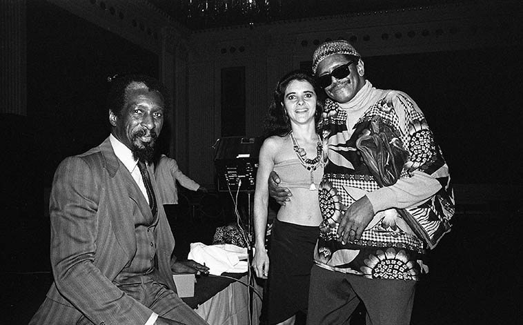 Mal Waldron, Jana Haimsohn (dancer), and Ed Blackwell -- downtown Los Angeles at Biltmore Hotel -- January 15, 1982 -- photo by Mark Weber