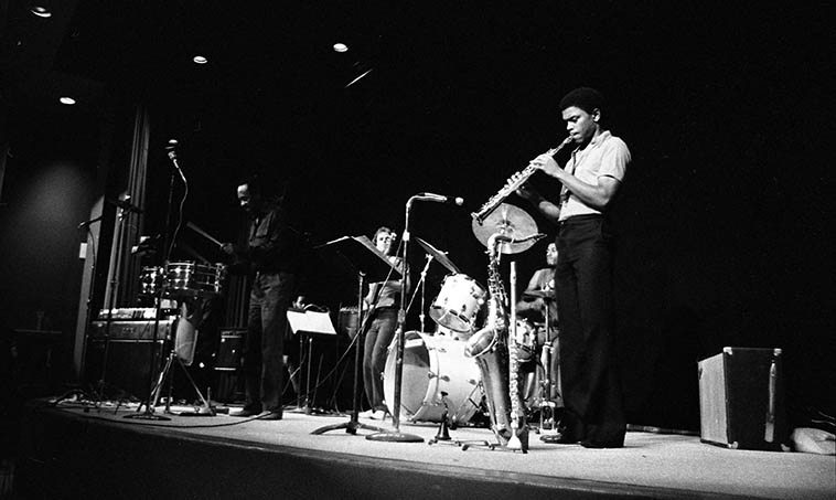 Albert Tootie Heath & sextet -- September 27, 1981 -- photo by Mark Weber ---- Tootie will be Live in-studio guest this day on the Thursday jazz show, as well, drummer John Trentacosta, both down from Santa Fe for their gig at the Outpost Performance Space this night