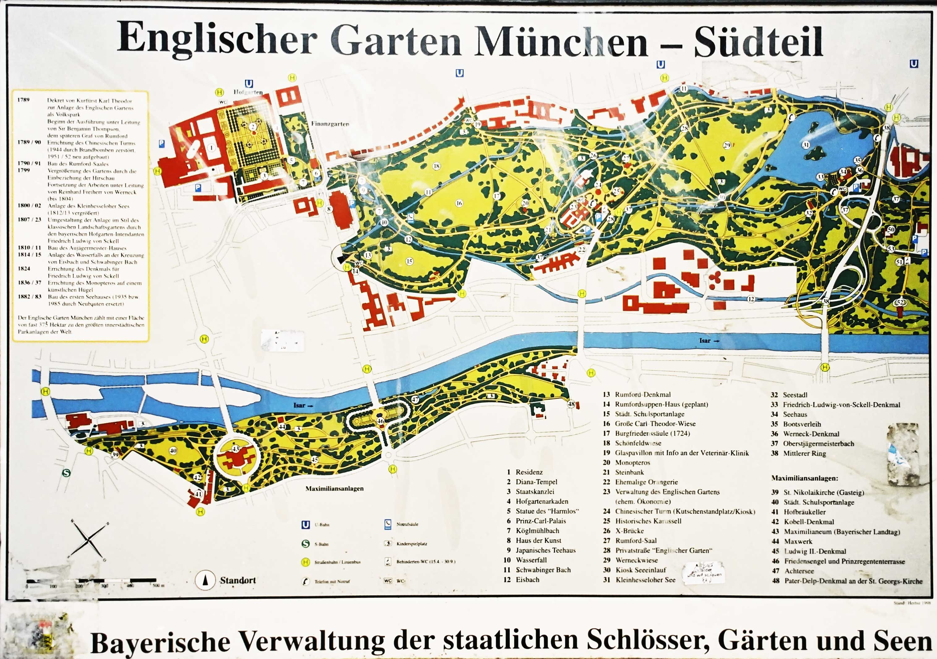 Mapa do Englischer Garten - Photo: www.m.blog.hu
