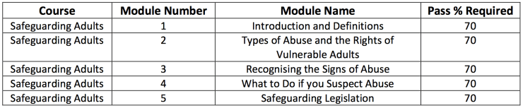 safeguarding adults modules
