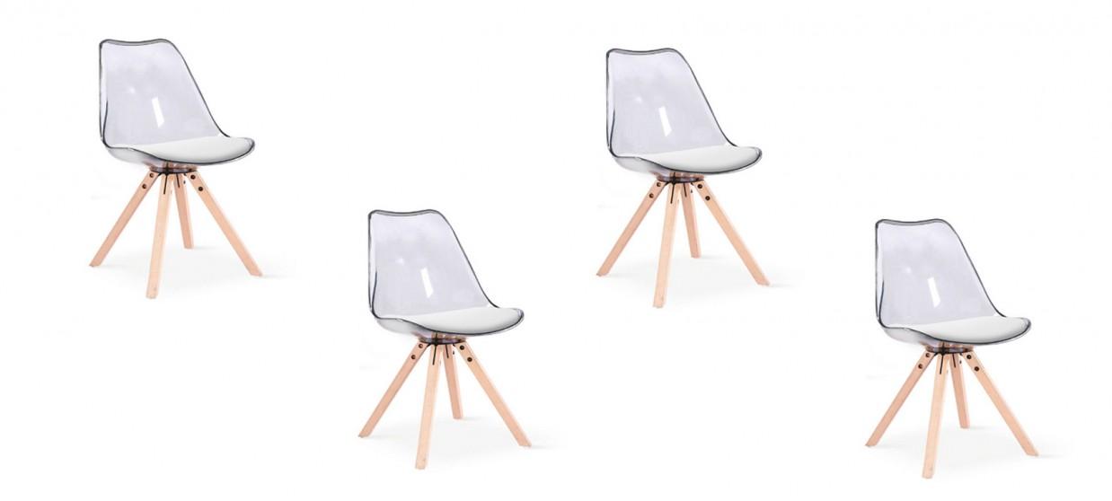 lot de 4 chaises transparentes polycarbonate helsinki