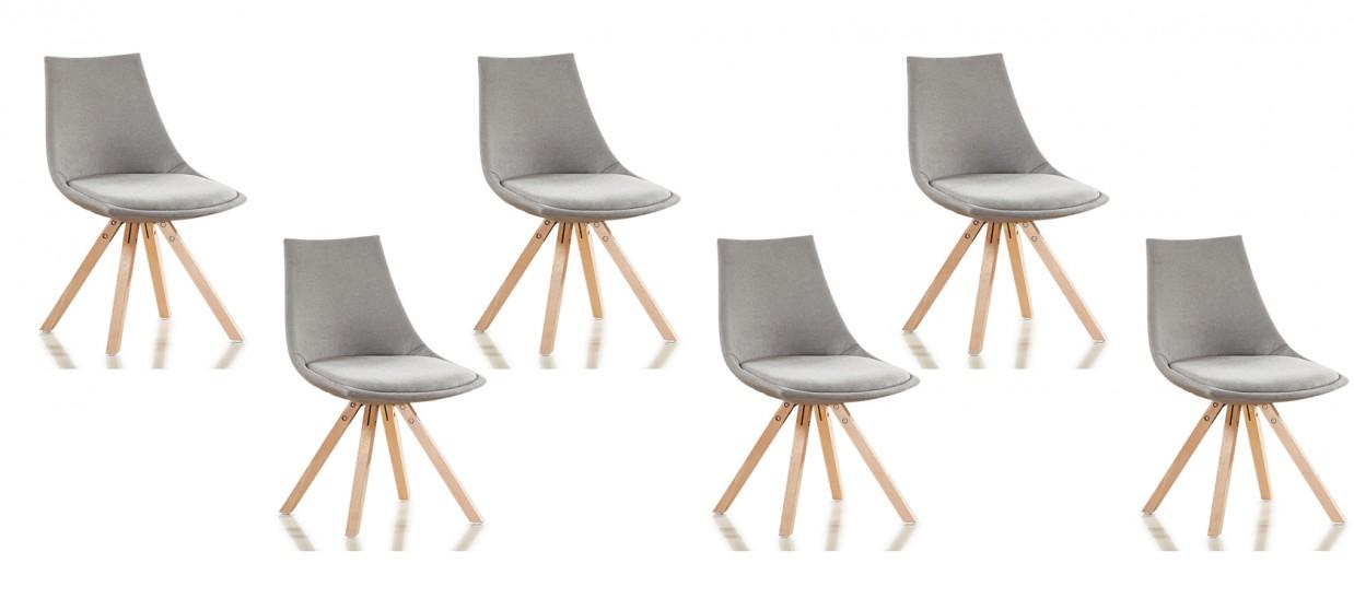 lot de 6 chaises scandinaves tissu gris minsk