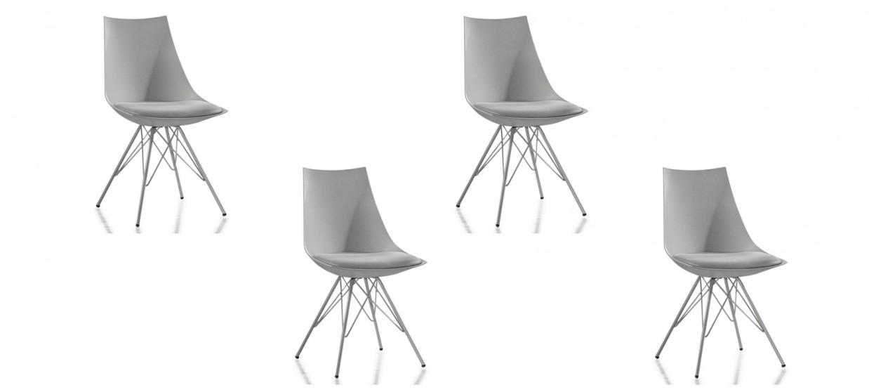 lot de 4 chaises design grises eif