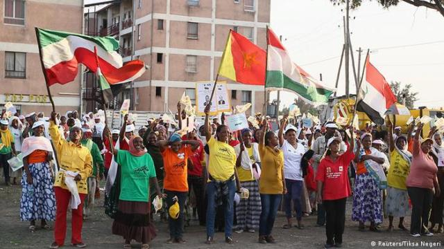 Supporters of the Ethiopian People's Democratic Front (EPRDF)