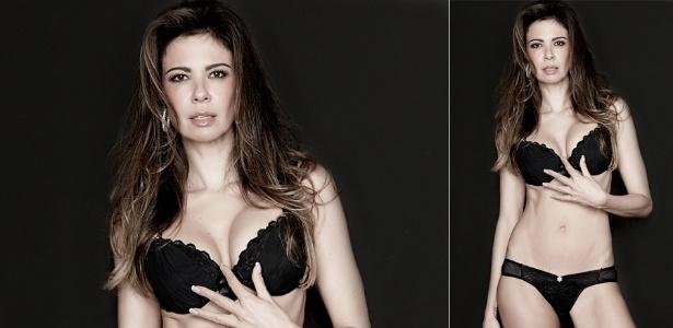 Luciana Gimenez exibe ótima forma em ensaio para sua linha de lingerie