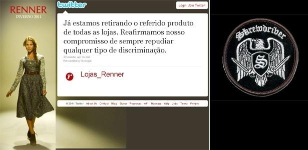 """Comunicado da Renner enviado à imprensa e colocado no Twitter; e """"patch"""" similar ao usado em moletom vendido pela loja de departamento"""