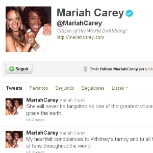 Reprodução de mensagem do perfil de Twitter de Mariah Carey sobre a morte de Whitney Houston (12/2/12)