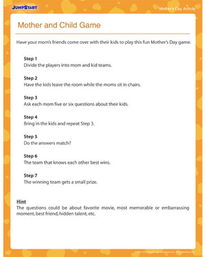 Mother and Child Game – Printable Mother's Day Activities ...
