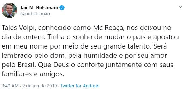 Resultado de imagem para TWITTER DE BOLSONARO MORTE DO DJ