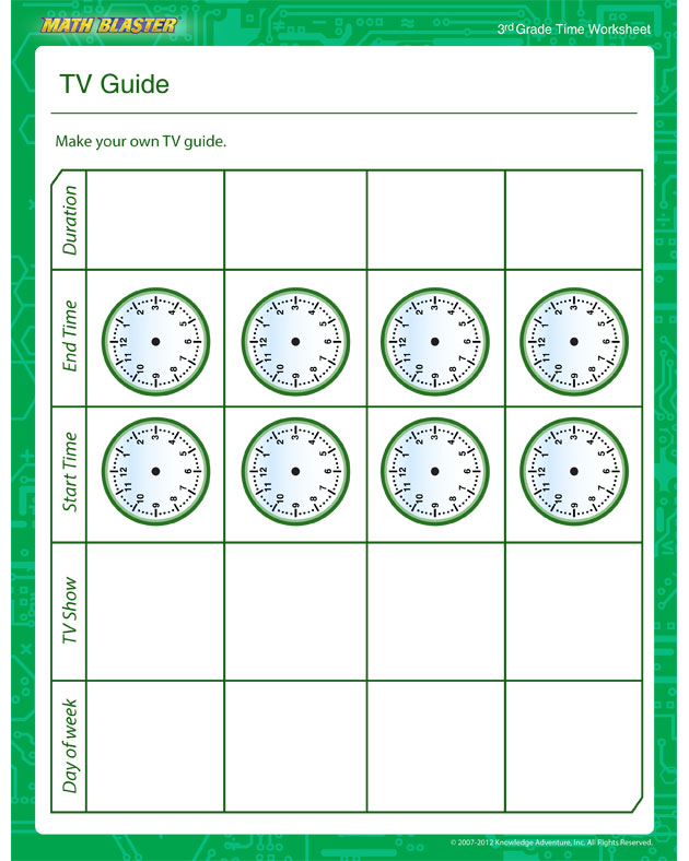 TV Guide – Time Worksheet for Kids - Math Blaster