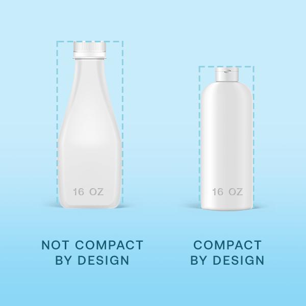 Compact bottle vs. decorative bottle for Amazon's Compact by Design Certification