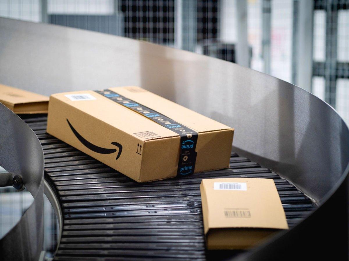Amazon boxes in a fulfilment centre