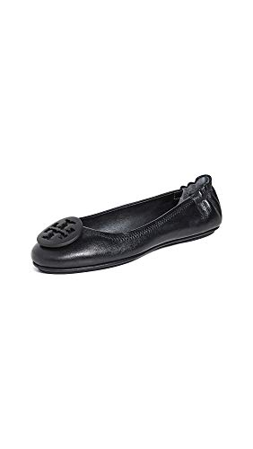 21+8ZckonvL A medallion accents the vamp of these crinkled leather Tory Burch ballet flats. Split rubber sole.
