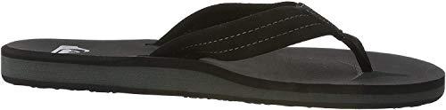 Quiksilver Men's Carver Suede 3-Point Flip Flop Sandal, Solid Black, 10 M US