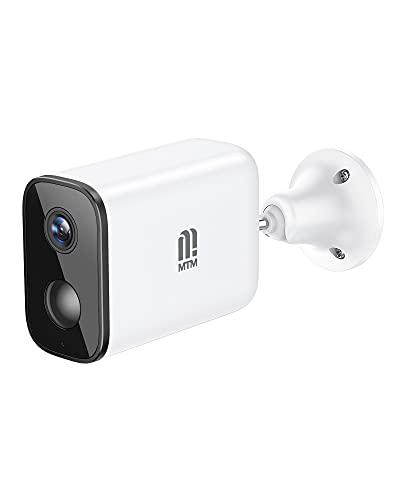 Cámara para exteriores MTM con batería, cámara de vigilancia inalámbrica para exteriores con WiFi de 2.4G, FHD 1080P, cámaras de videovigilancia con detección PIR, audio bidireccional, visión nocturna, IP66