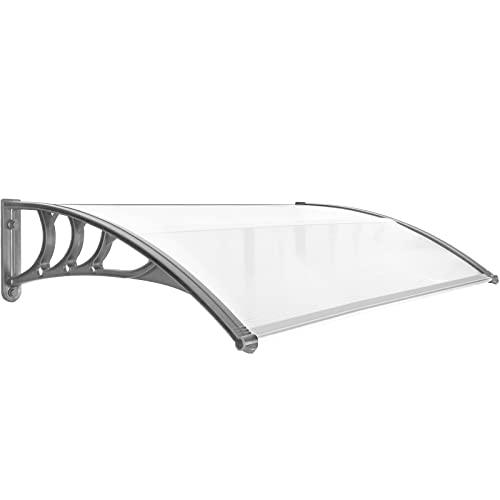 PrimeMatik - Tejadillo de protección 150x80cm Marquesina para Puertas y Ventanas Gris