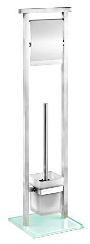 WENKO Stand WC-Garnitur Debar - WC-Bürstenhalter, Edelstahl rostfrei, 18 x 73 x 18 cm, satiniert